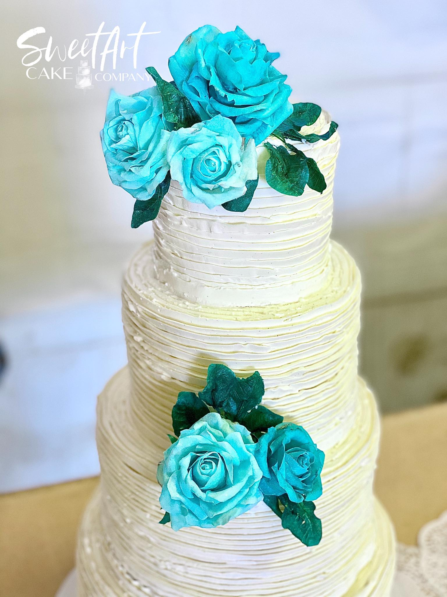 Buttercream Wedding Cake with Wafer Pape