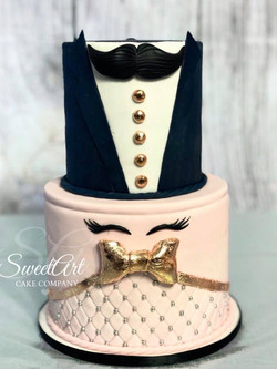 Staches or Lashes Gender Reveal Cake