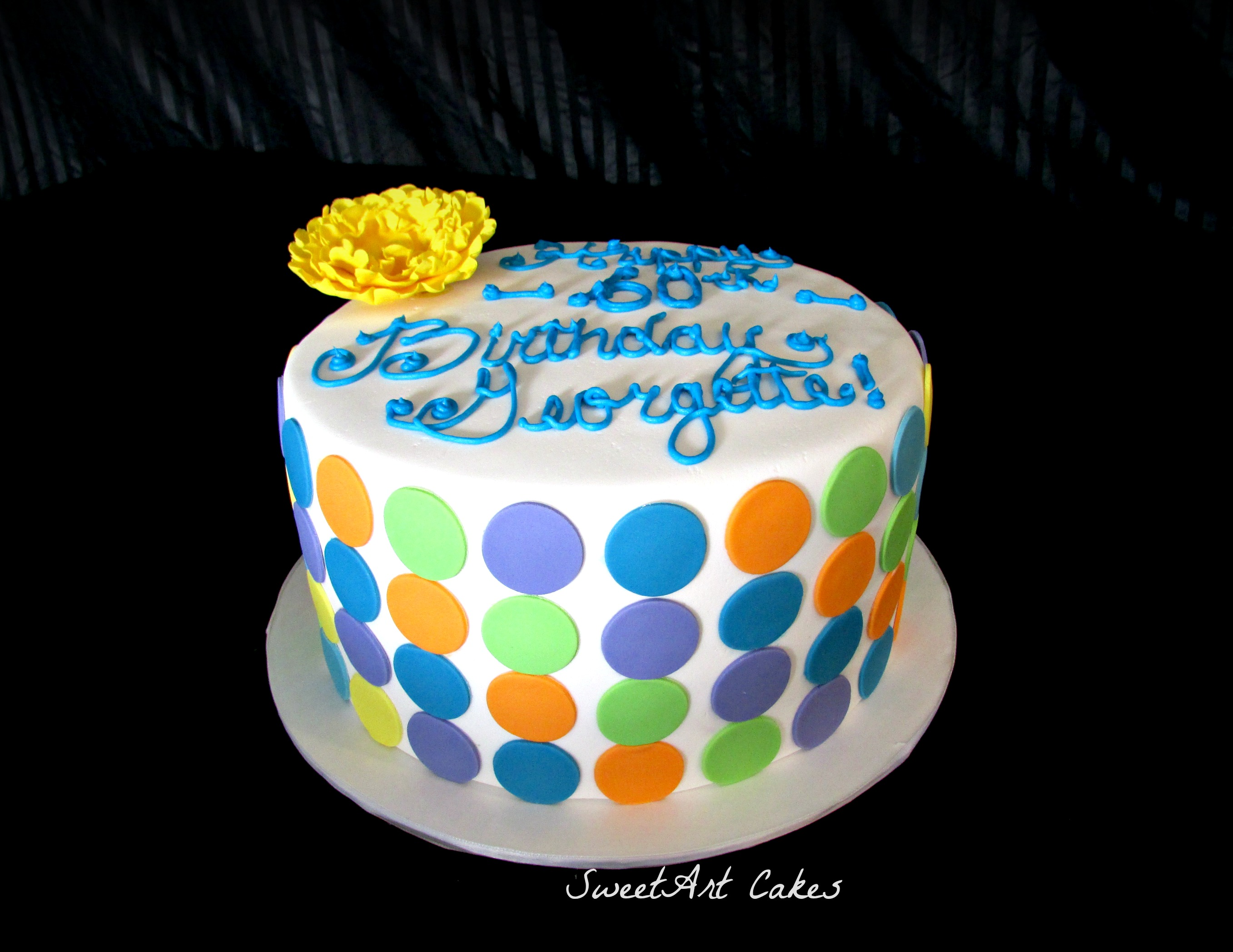 Multi color polka dot cake
