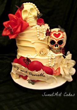 Skull Rockabilly Wedding Cake