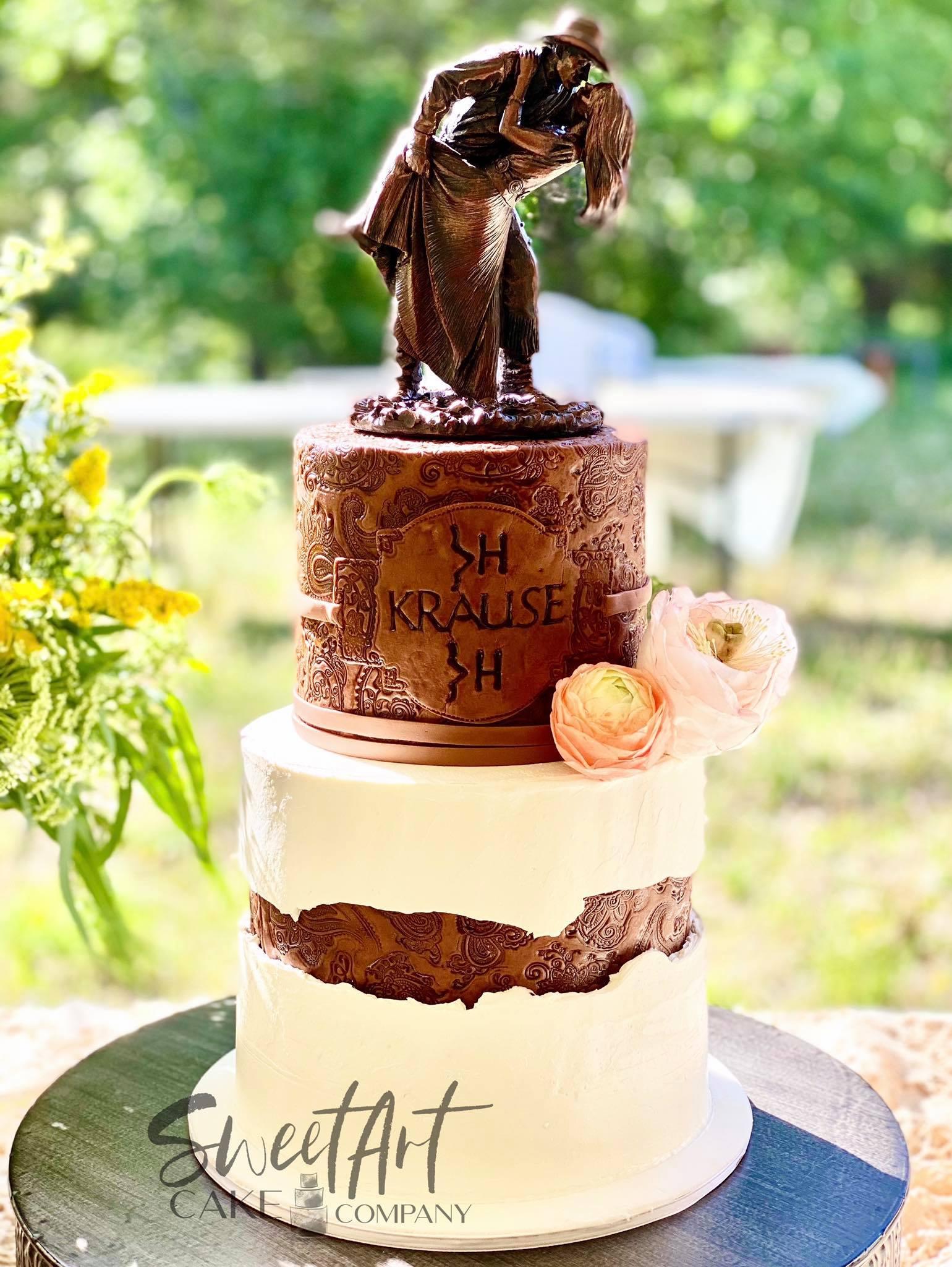 Western Tooled Leather Wedding Cake