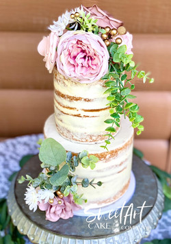 Semi Naked Wedding Cake with Foam Florals