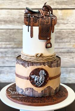 Western Leather Saddle Cake