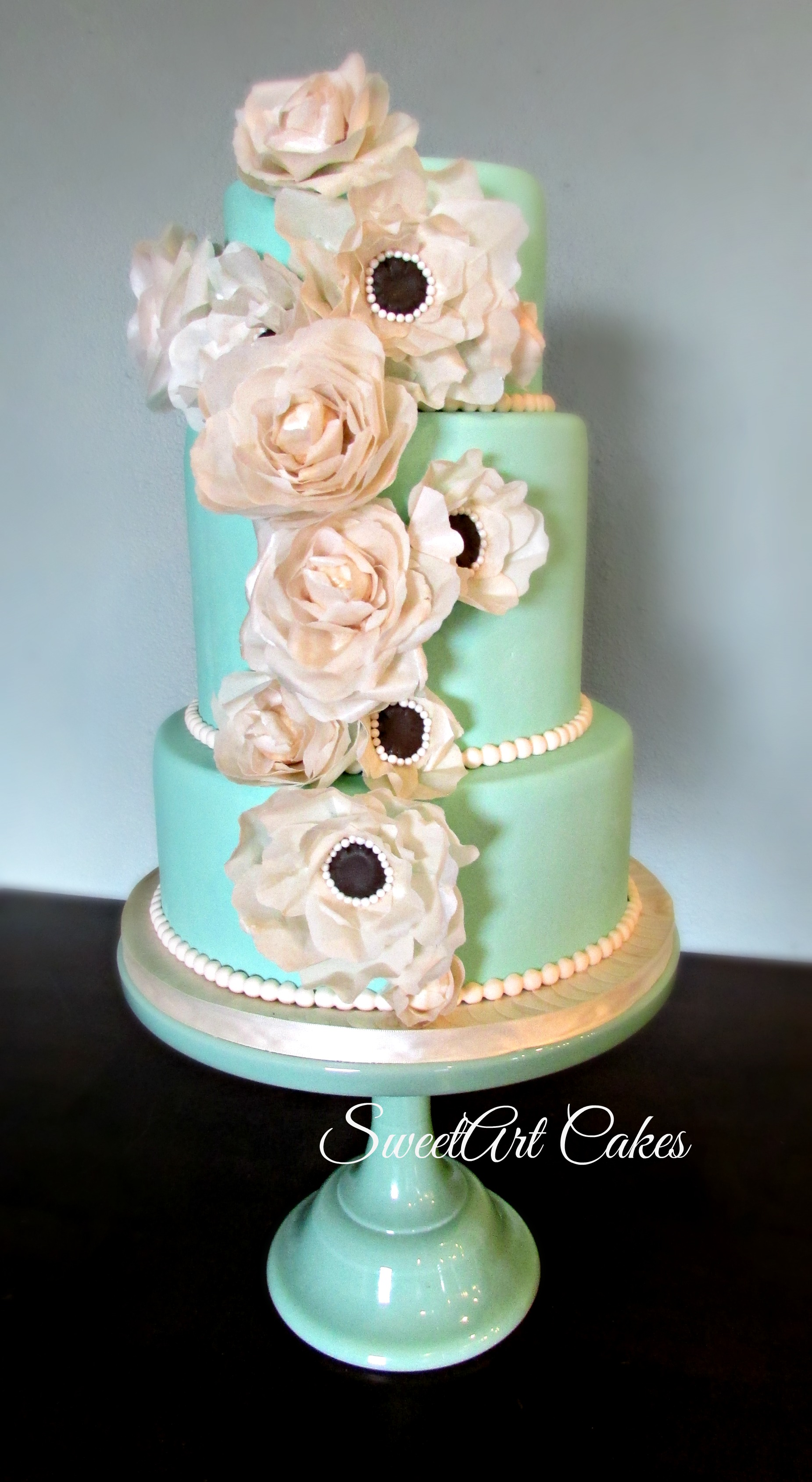 Mint Green Wafer Paper Wedding Cake