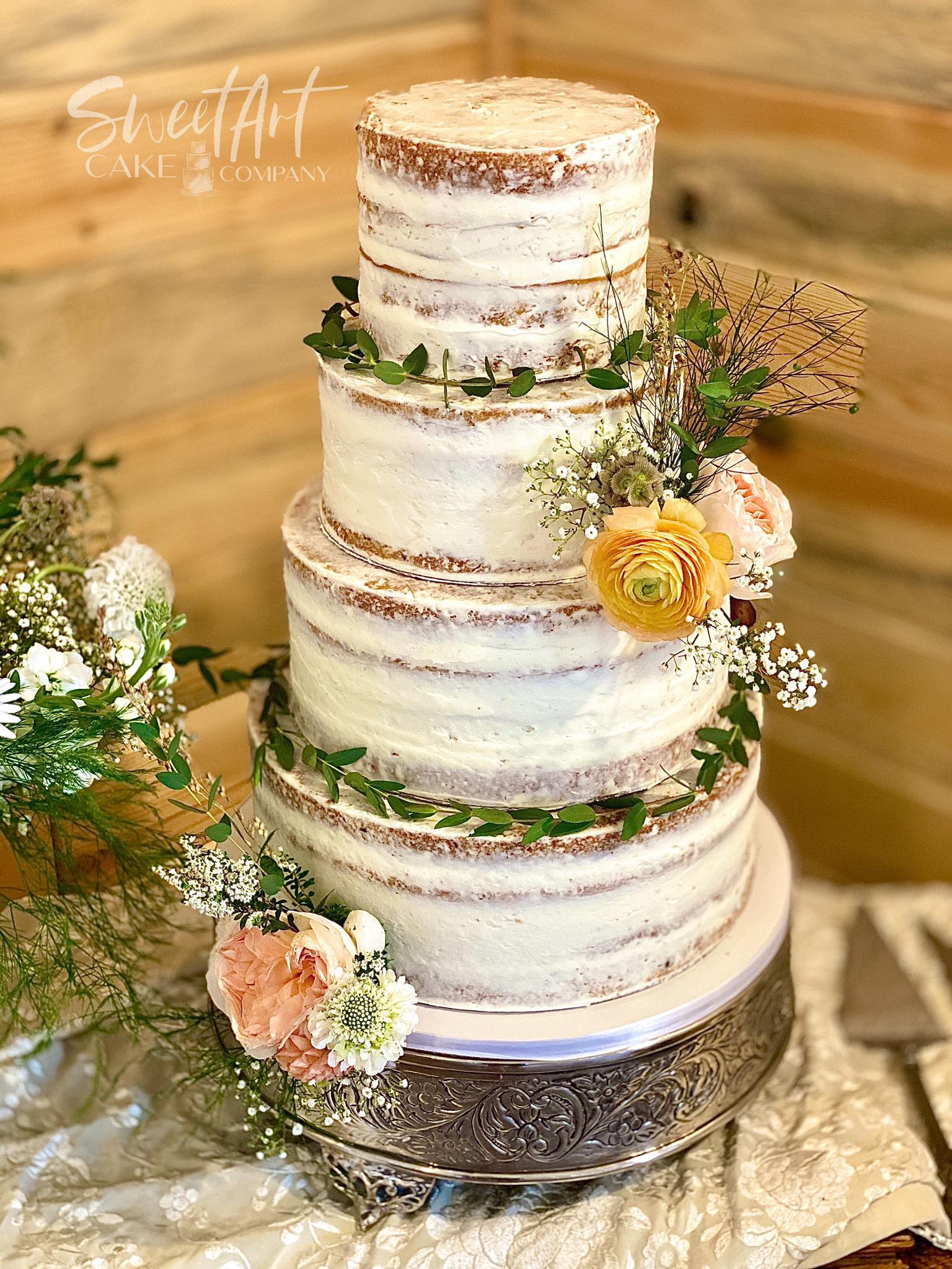 4 Tier Naked Floral Wedding Cake