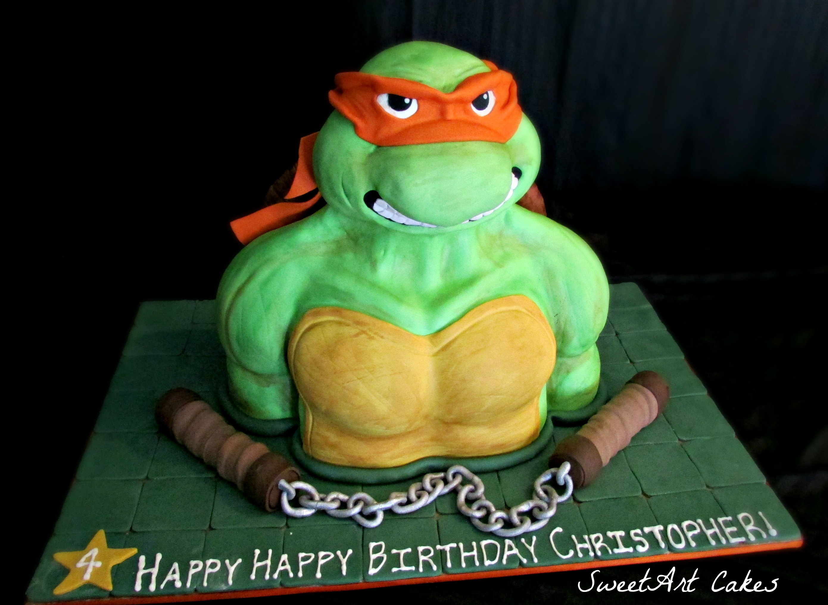 Sculpted Ninja Turtle Cake