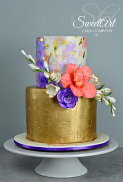 Gold Watercolor Cake