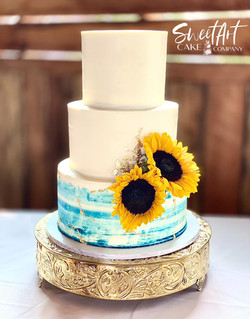 Buttercream Wedding Cake with Gold Leaf