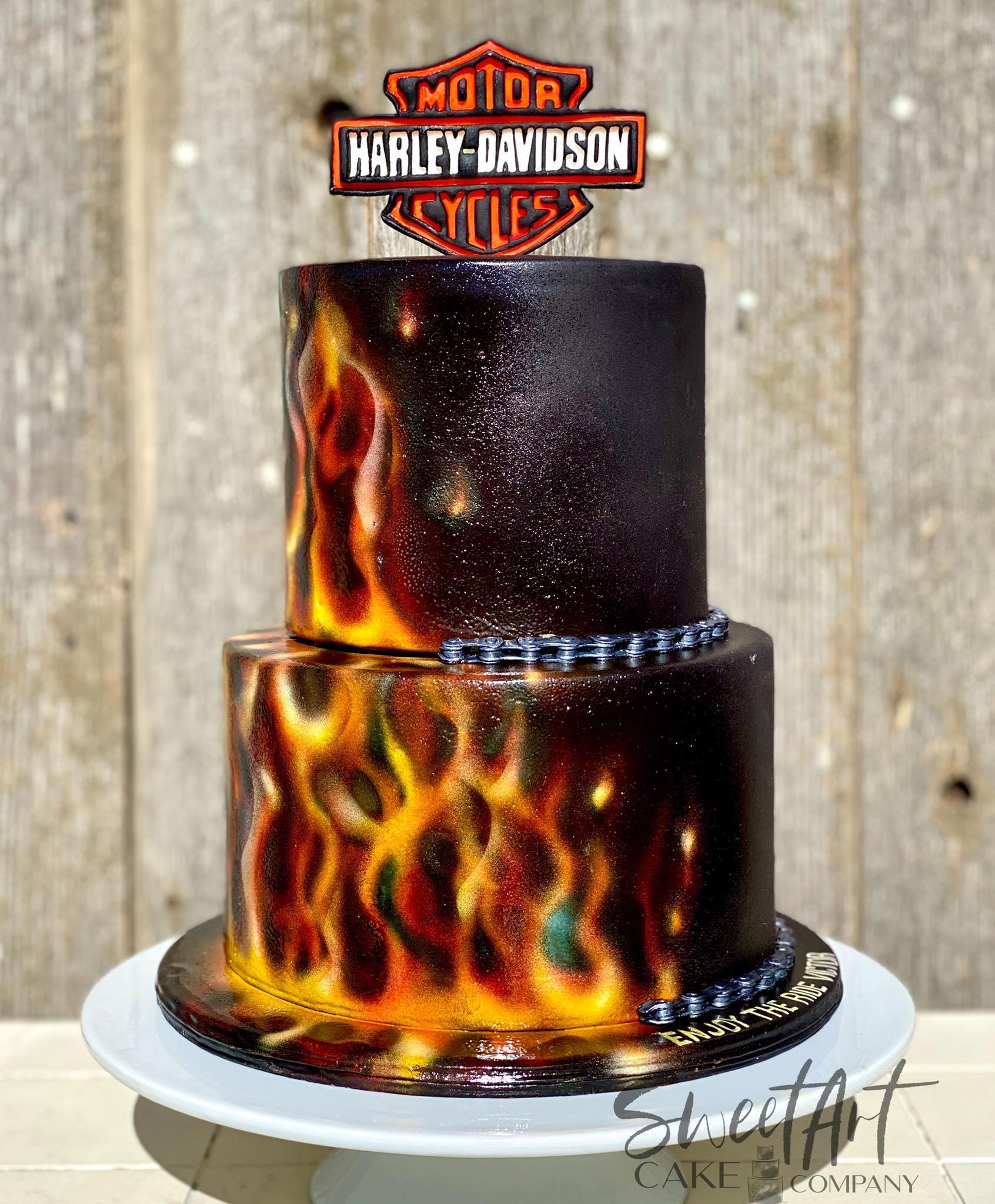 Airbrushed Flames Harley Davidson Cake