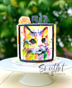 Painted Watercolor Cat Cake