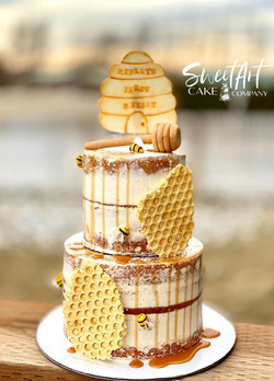 First BeeDay Bee Themed Naked Cake