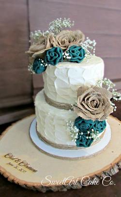 Rustic Burlap Flower Cake