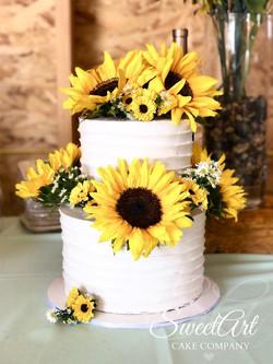 Fresh Sunflower Wedding Cake