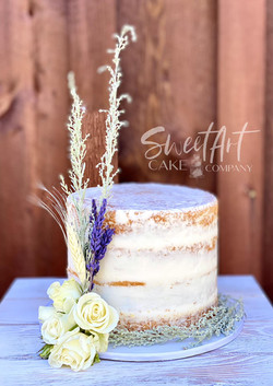 Naked Cutting Cake with Rustic Florals
