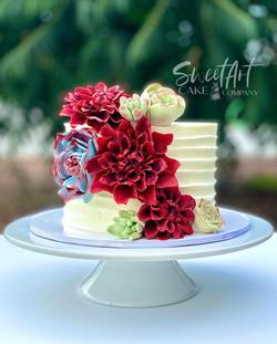 Sugar Dahlias and Succulents Cake