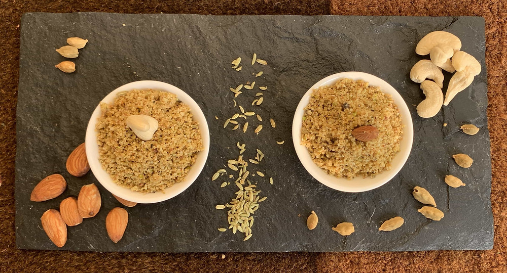 Thandai Powder is very easy to make masala powder. It is very versatile and loaded with loads of health quotient too. All the ingredients like almond, cashew, cardamom, rose and saffron etc make this is a great dessert flavour.