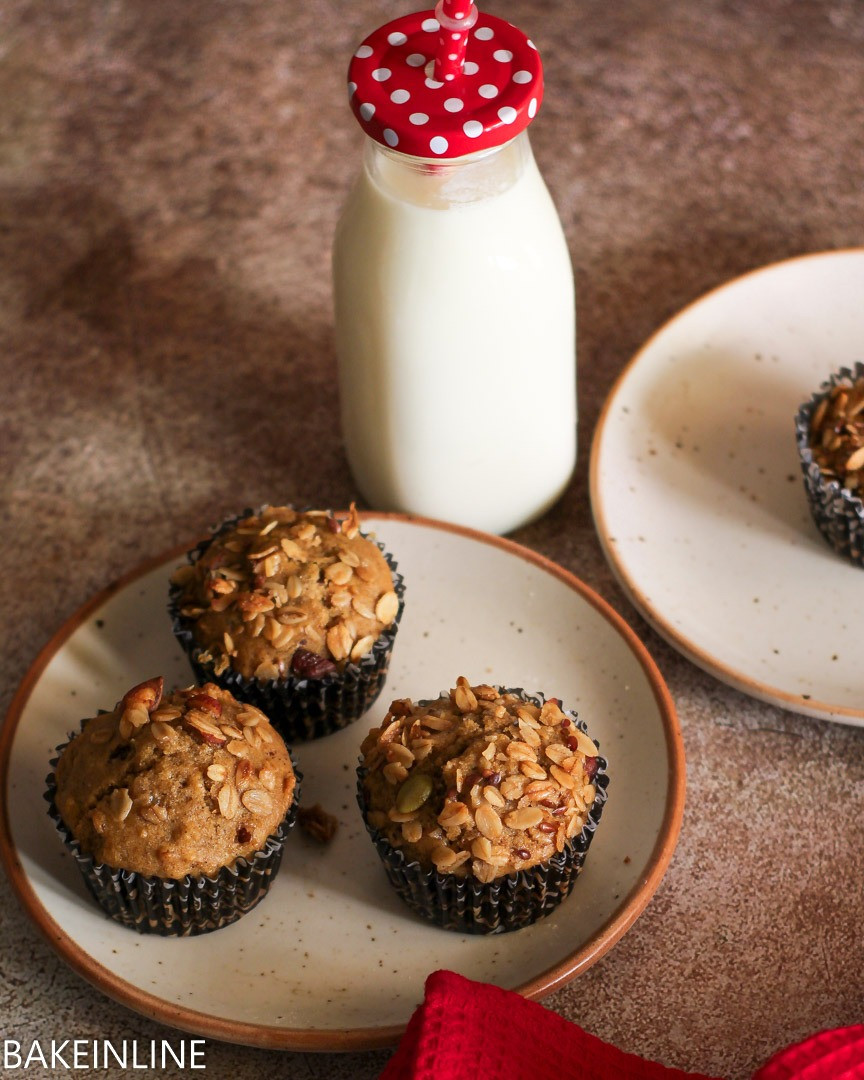 Eggless Healthy Whole Wheat Granola Muffins