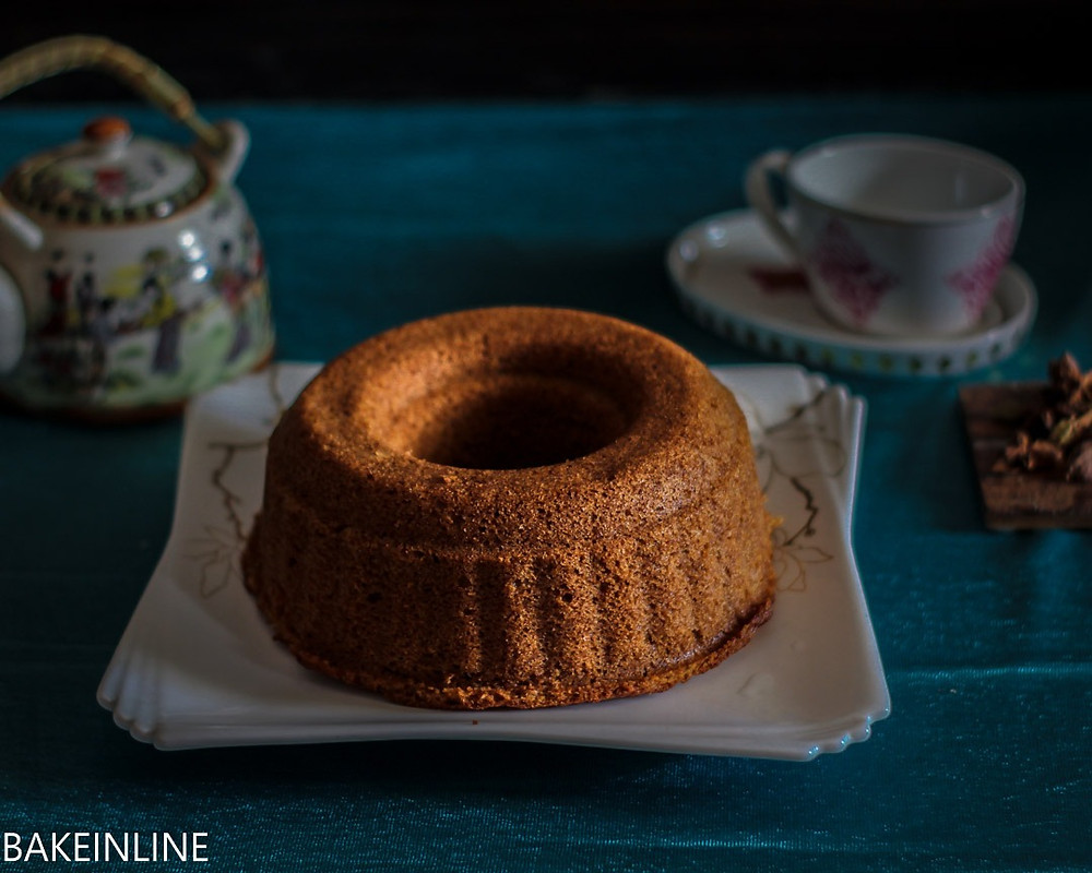 Eggless masala tea cake