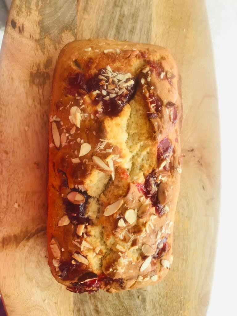 Eggless Almond tea cake recipe by bakeinline