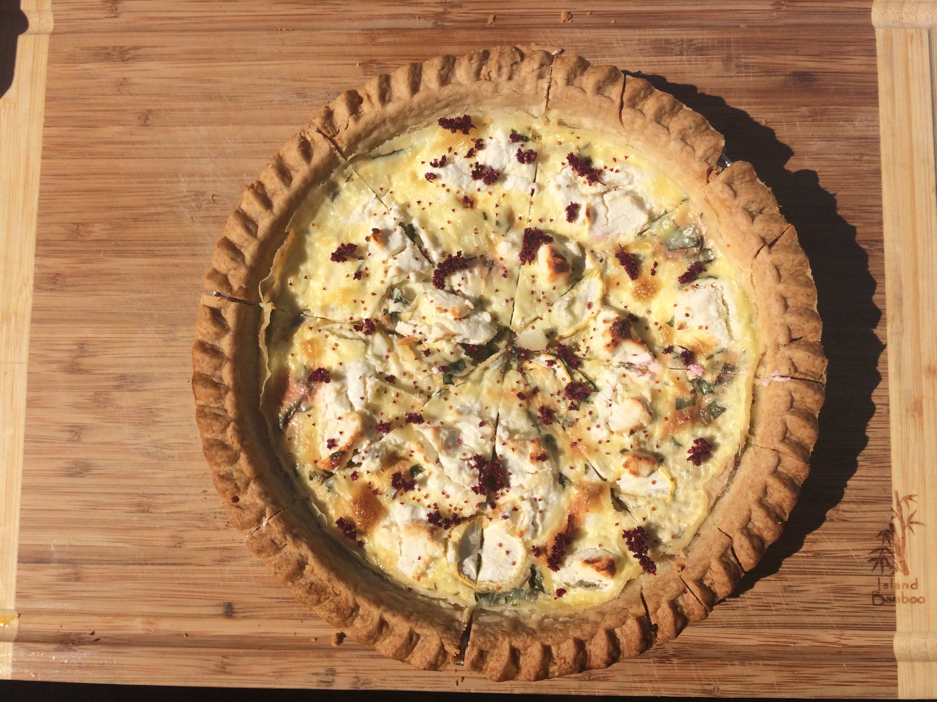 amaranth and goat cheese tart