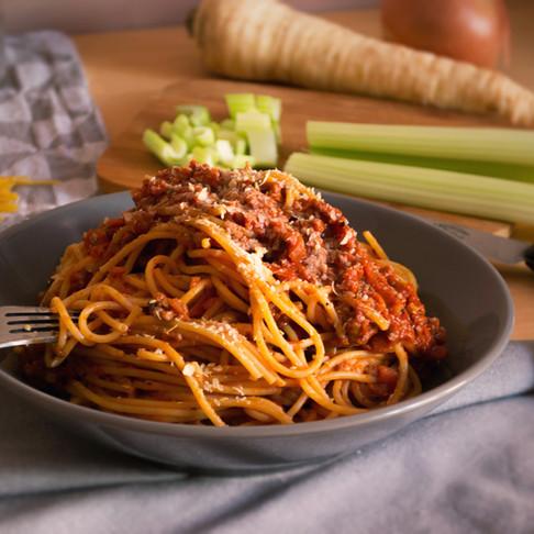 Boloňské špagety z vegan mletého