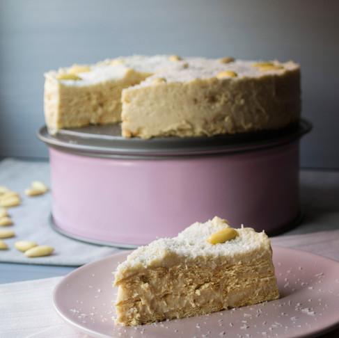 Nepečený raffaello dort