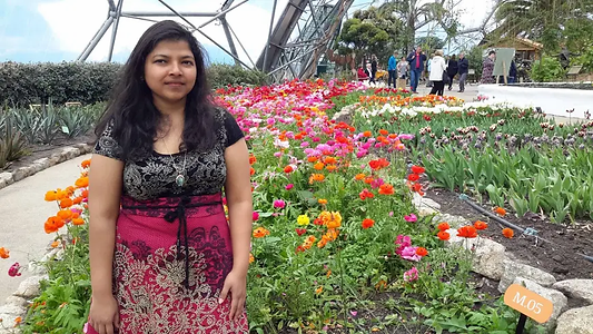 Enjoying the flower gardens at the Eden Project in Cornwall.