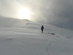 Trail breaking in the Fannichs, Scotland