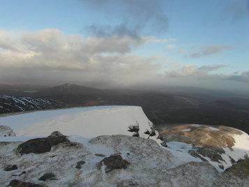 Snowy views from Seana Bhraigh Munro, Scotland