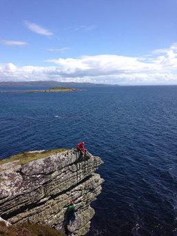 Sea cliff climbing, Isle of Skye, Scotland