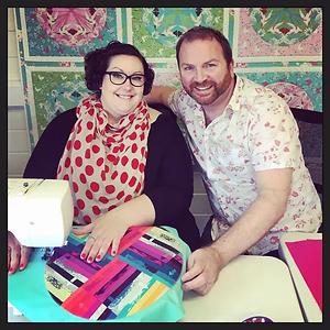 Melanie with Stuart Hillard, her celebrity best pal from the first BBC sewing bee!