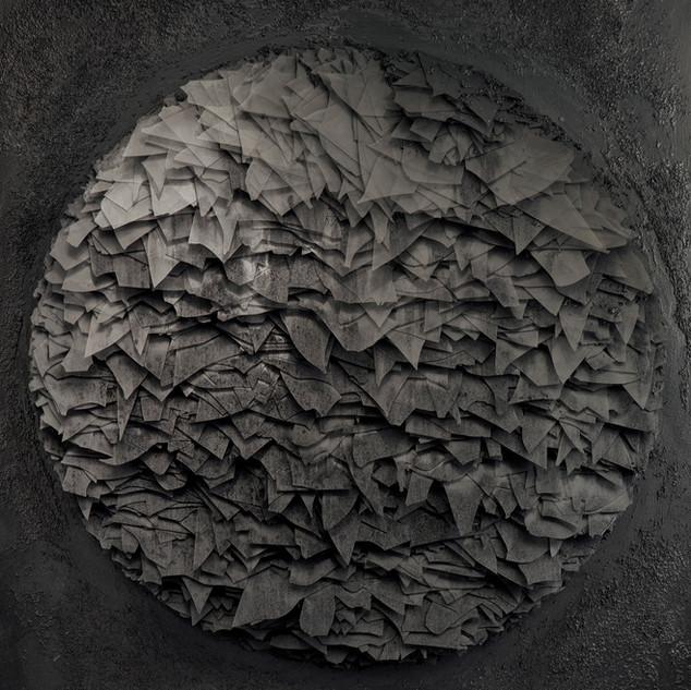 T. 04/03/13/K, Glas, Graphit, Holz, 93 x 75 x 12 cm