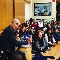 Paul Sanasardo, new trier high school, dance studio, conga drum, students
