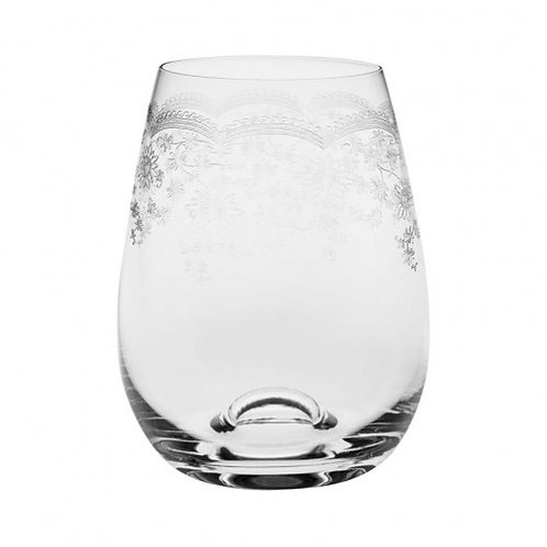 Stemless Floral Engraved Wine Glass