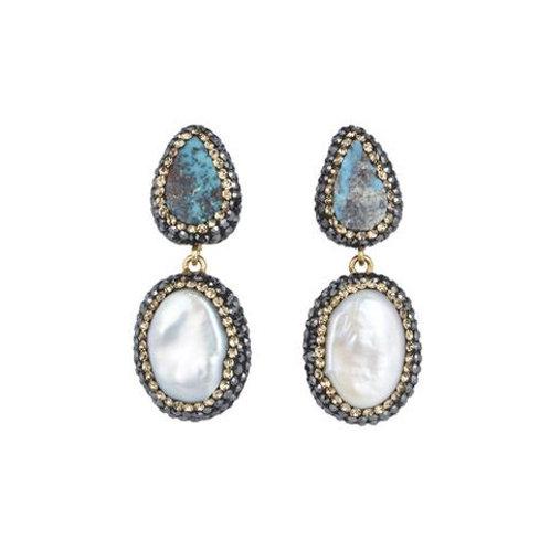 SORU JEWELLERY   Turquoise & Baroque Pearl Earrings, Gold