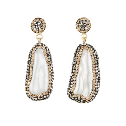 SORU JEWELLERY | Baroque Pearl Double Sided Earrings, Gold