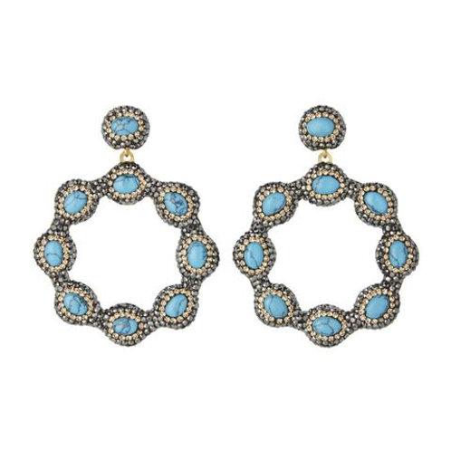 SORU JEWELLERY | Turquoise Hoop Earrings, Gold