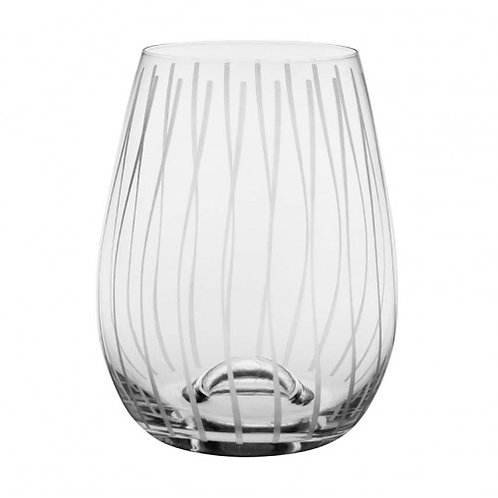 Stemless Wave Engraved Wine