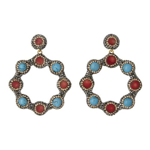 SORU JEWELLERY | Turquoise and Coral Hoop Earrings, Gold
