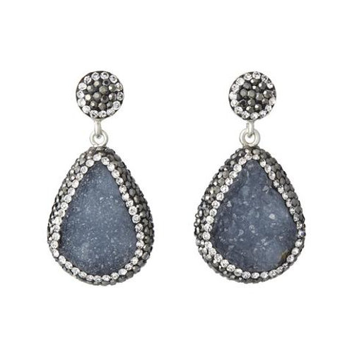 SORU JEWELLERY | Blue Chalcedony Earrings, Silver