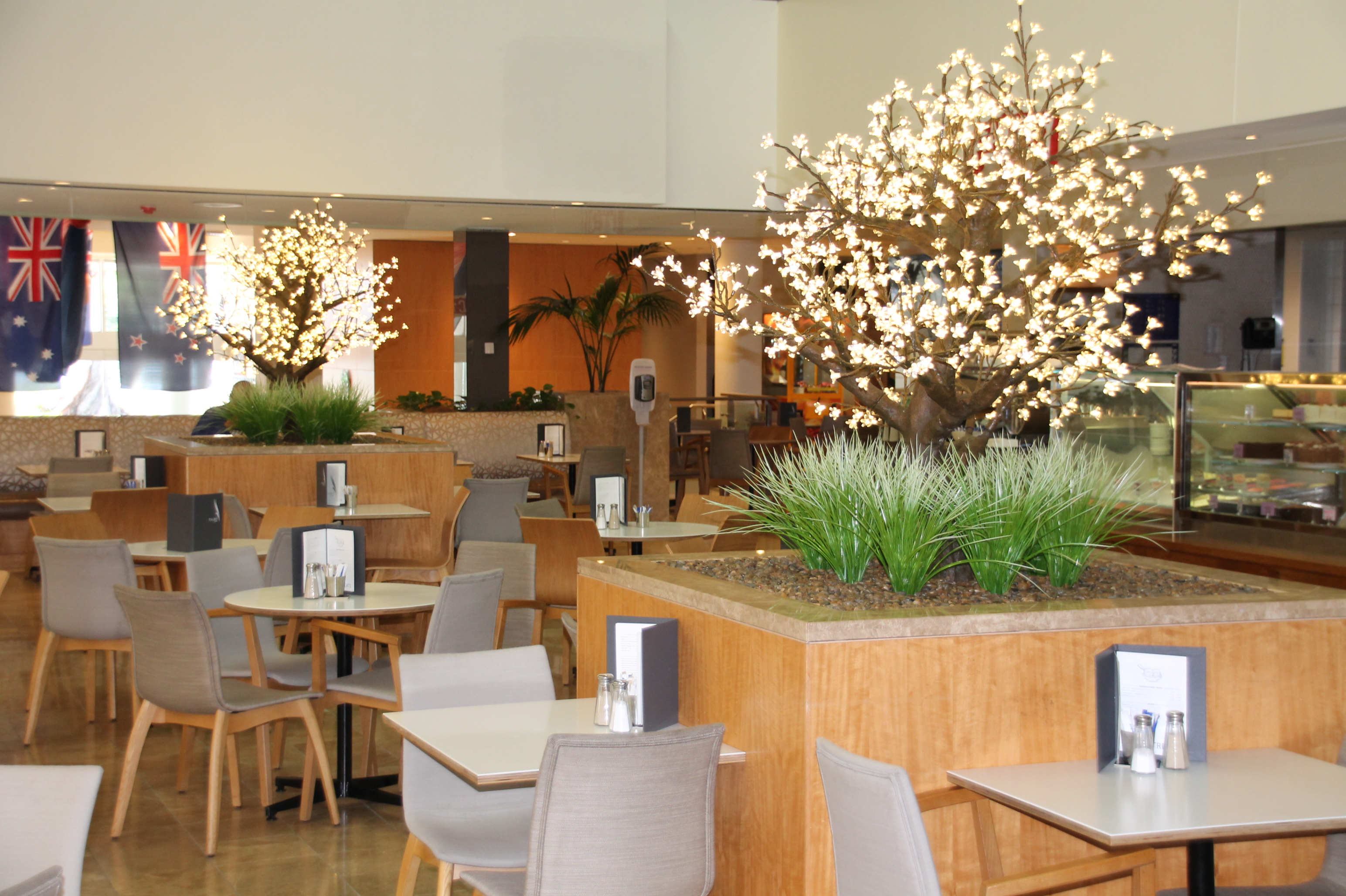 Indoor Cafe Garden with Light Trees