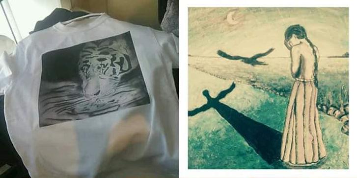 T-Skjorter med trykkt motiv av egne malerier laget av forfatteren Melissa Helen Hekland Edvardsdal. Pris 250,- pluss frakt.