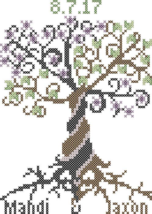 Modern wedding tree cross stitch pattern