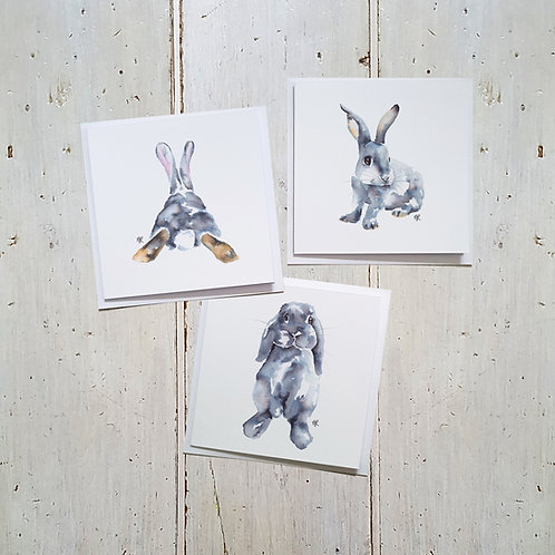 Trio of Rabbits card 3 pack