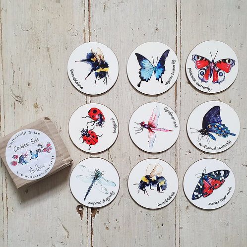 Watercolour Insect Coasters