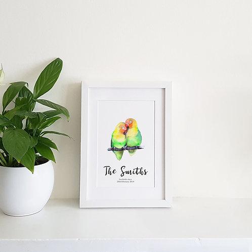 Personalised Lovebirds Print