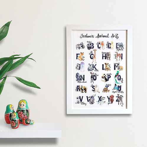 Personalised A to Z Animal Print