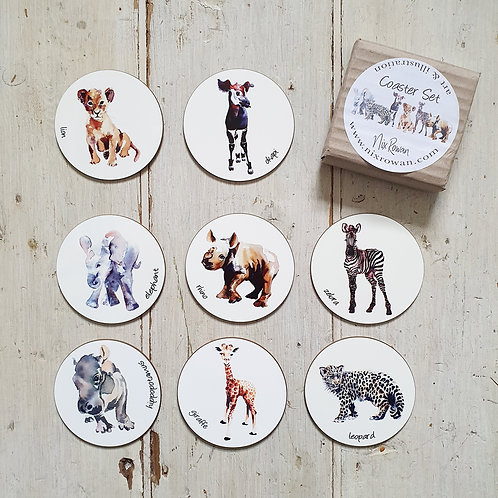 Watercolour Safari Animal Coasters