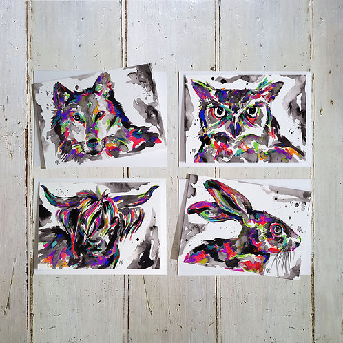 Wildlife Animal Faces card 4 pack