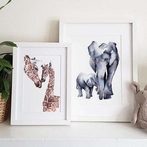 Animal Hugs Watercolour Print